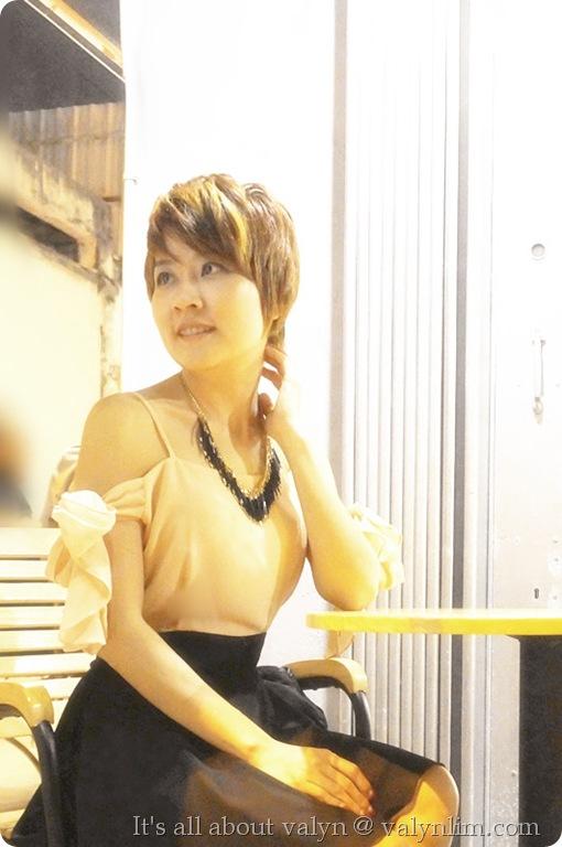 黑裸色露肩雪纺纱裙 (3)